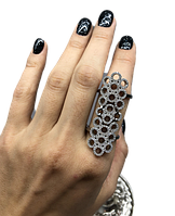 Перстень на весь палец из серебра 925 J Well Silver с куб. цирконами