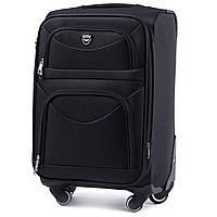 Средний тканевый чемодан Wings 6802 на 4 колесах черный