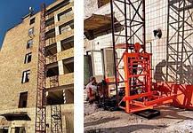 Висота Н-93 метрів. Щоглові підйомники для подачі будматеріалів, Будівельний підйомник г/п 2000 кг, 2 тонни., фото 3