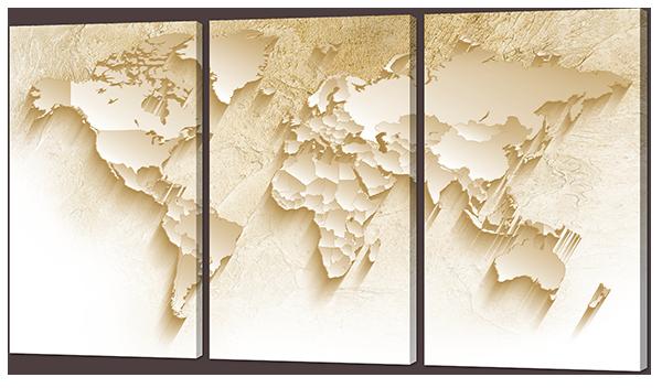 Модульная картина Interno Эко кожа  Песочная карта 164x93см (А883XXL)