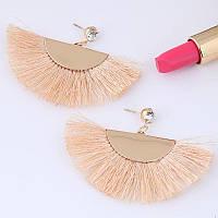 Сережки золотий хвіст з бахромою пісочного кольору