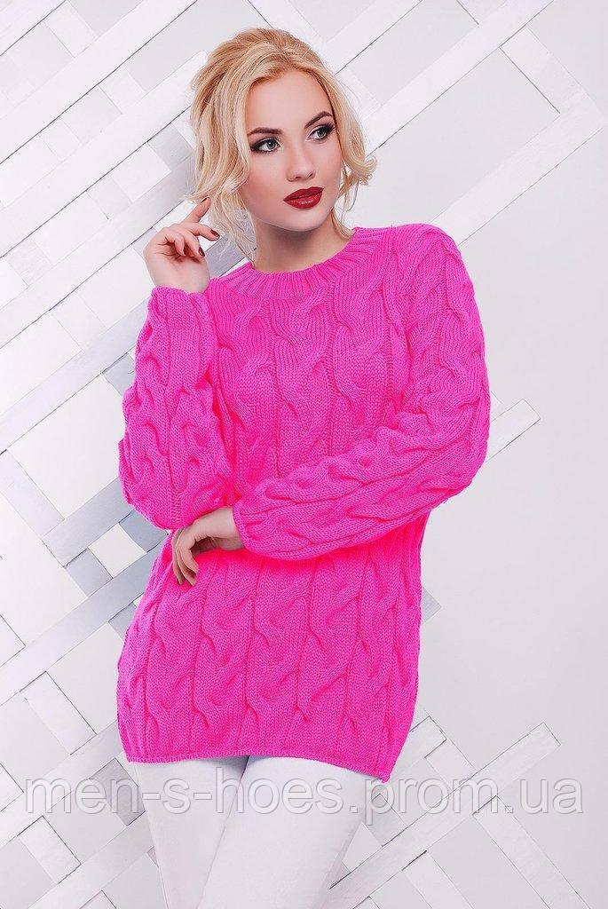Свитер вязаный женский яркий розовый.