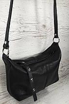 401 Натуральная кожа Сумка женская кросс-боди кожаная черная Сумка из натуральной кожи черная сумочка кожаная, фото 2