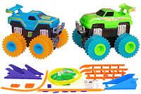 Машинки на бат. Trix Trux набор 2 машинки с трассой (синий+зеленый) JLT-AS332BG, фото 1
