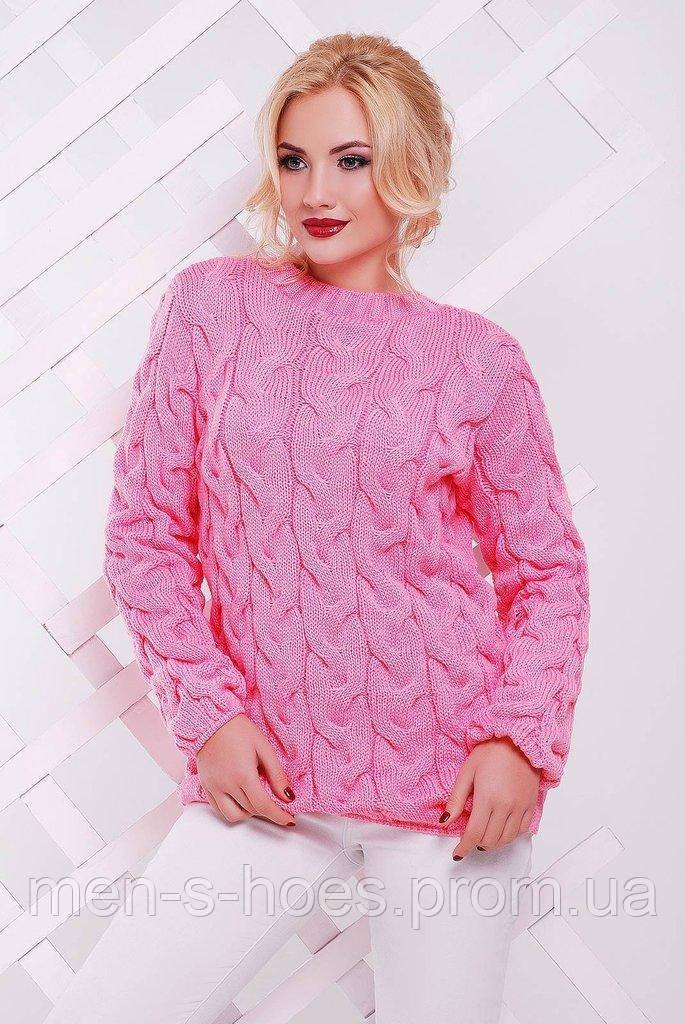 Свитер вязаный женский розовый.