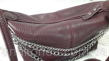 402-ц Натуральная кожа, Сумка женская кросс-боди, марсала, бордовый, вишня, тиснение, фото 3