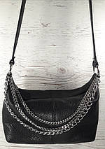 401ц Натуральна шкіра Сумка жіноча крос-боді чорна шкіряна Сумка з натуральної шкіри чорна шкіряна сумочка, фото 2