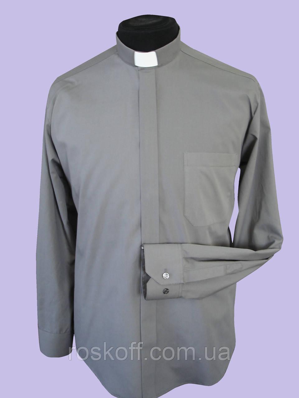 Рубашка темно-серого цвета с длинным рукавом