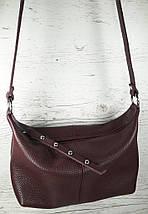 402 Натуральная кожа Сумка женская кросс-боди кожаная бордовая Сумка из натуральной кожи марсала сумочка кожа, фото 3