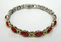 Айседора — стальной магнитный браслет (позолота, красный оникс), фото 1