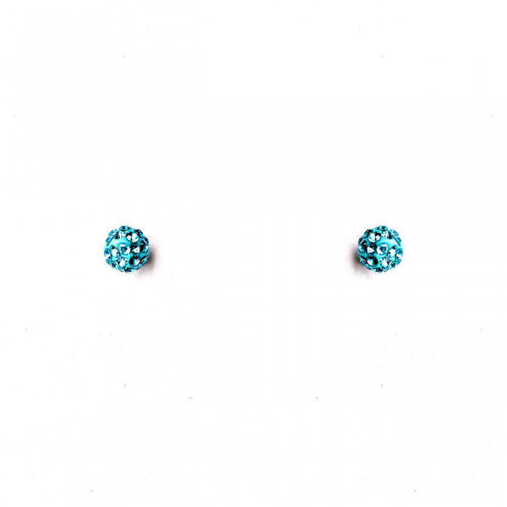 [5мм] УЦЕНКА Серьги шарики маленькие страза голубой