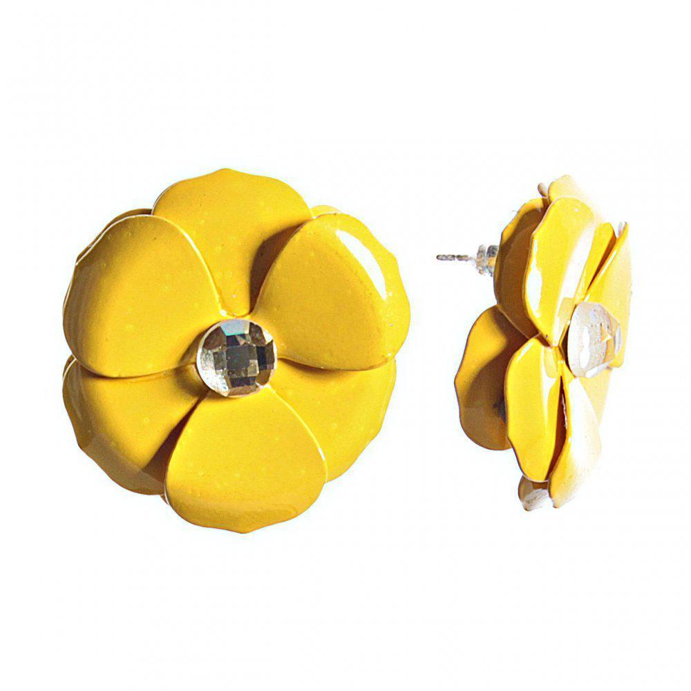 """Серьги-гвозди """"Цветок"""" лимонная эмаль со стразом, металл под """"серебро"""" ?27mm"""