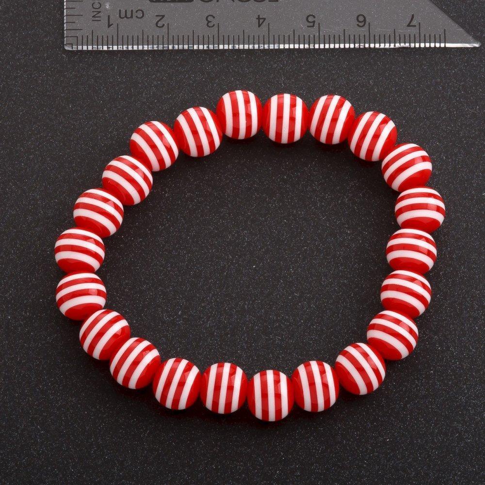 Браслет полосатая бусина на резинке d-10 мм красный