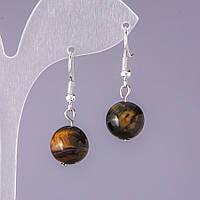 Серьги натуральный камень Соколиный глаз гладкий шарик d-12мм L-3см