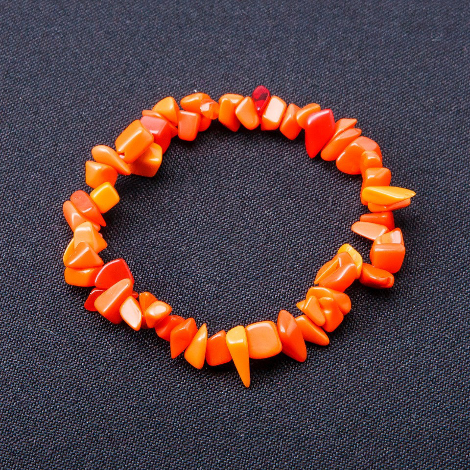 Браслет Коралл оранж крошка на резинке
