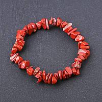 Браслет натуральный камень Яшма красная крошка на резинке d-8 мм обхват 18,5 см