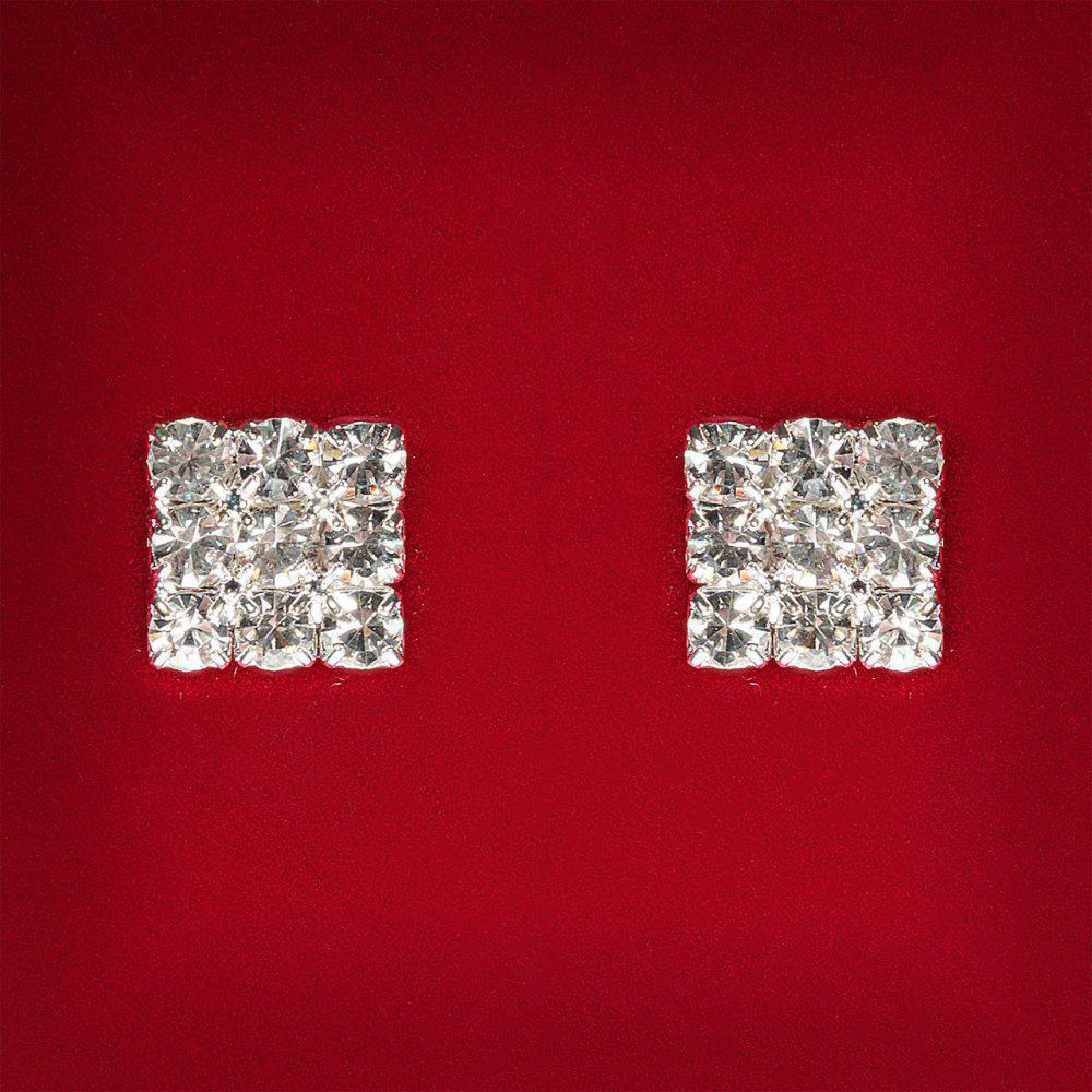 [10x10 мм] Серьги женские белые стразы светлый металл свадебные вечерние гвоздики (пусеты ) квадрат мини