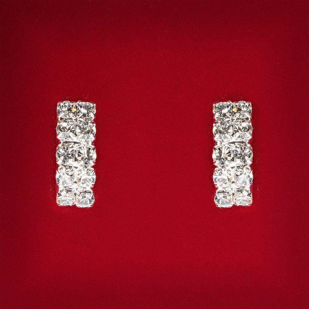 [20 мм] Серьги женские белые стразы светлый металл свадебные вечерние гвоздики (пусеты ) прямоугольные средние