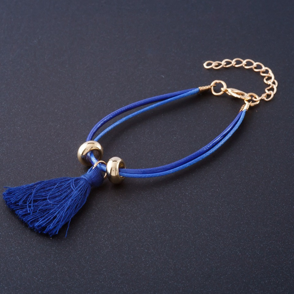 Браслет Кисточка синий L-17-23см