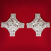 [19x9 мм] Серьги женские белые стразы светлый металл свадебные вечерние гвоздики (пусеты ) крест крупные