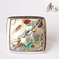 Кольцо без р-р квадрат выпуклый мозаика халиотис Перламутр