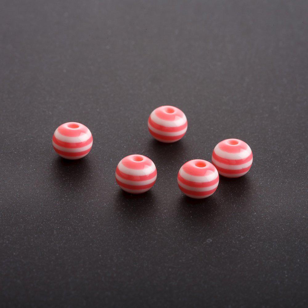 Бусина розовая белая полоска d- 8 mm фас.70шт