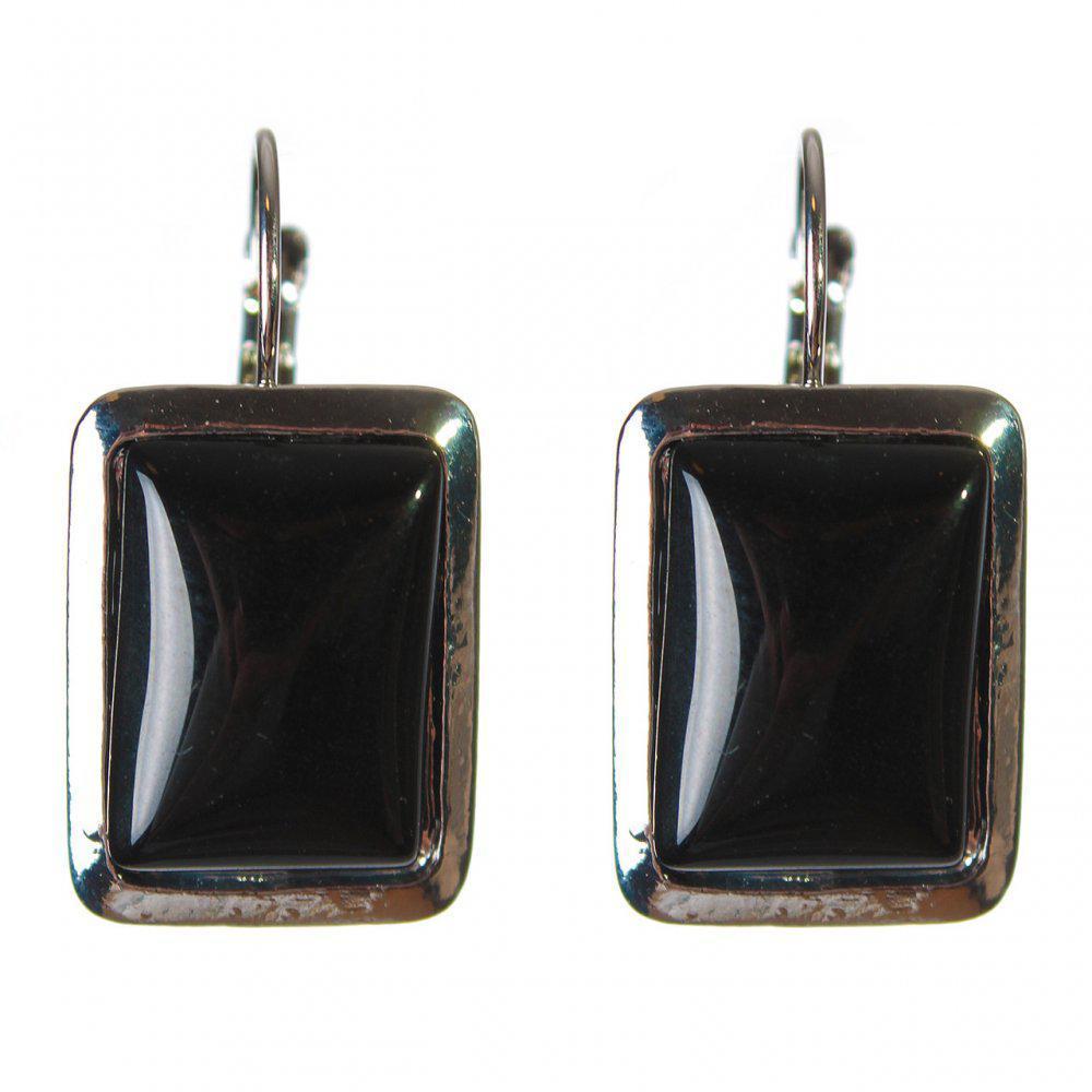 Серьги Агат гладкая оправа прямоугольный камень 2,3*1,8см L-3,5