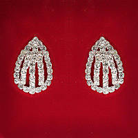 [30 мм] Серьги женские белые стразы светлый металл свадебные вечерние гвоздики (пусеты ) капля средние
