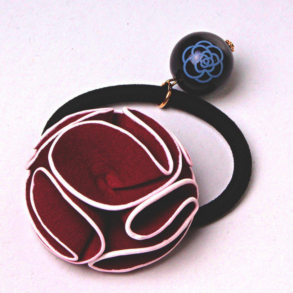 Резинка для волос резинка черный бархат бантик роза бордовый подвеска