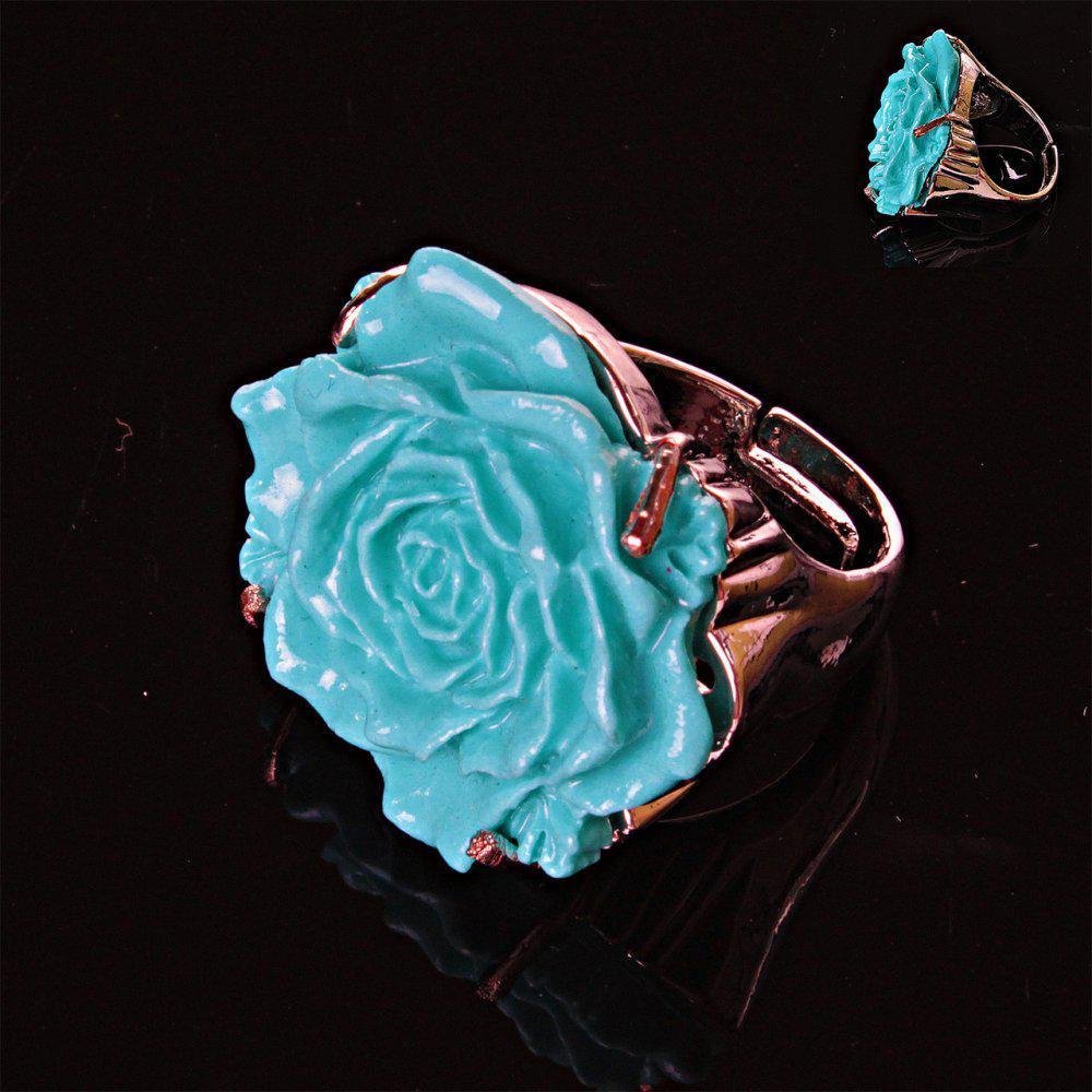 УЦЕНКА Перстень безразмерный Роза полимерная глина голубой