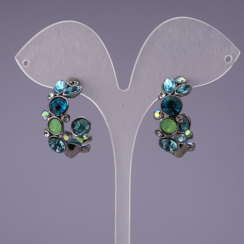 Серьги полукольца с кристаллами сине зелеными d-25мм