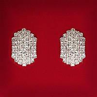 [20 мм] Серьги женские белые стразы светлый металл свадебные вечерние гвоздики (пусеты ) классические средние
