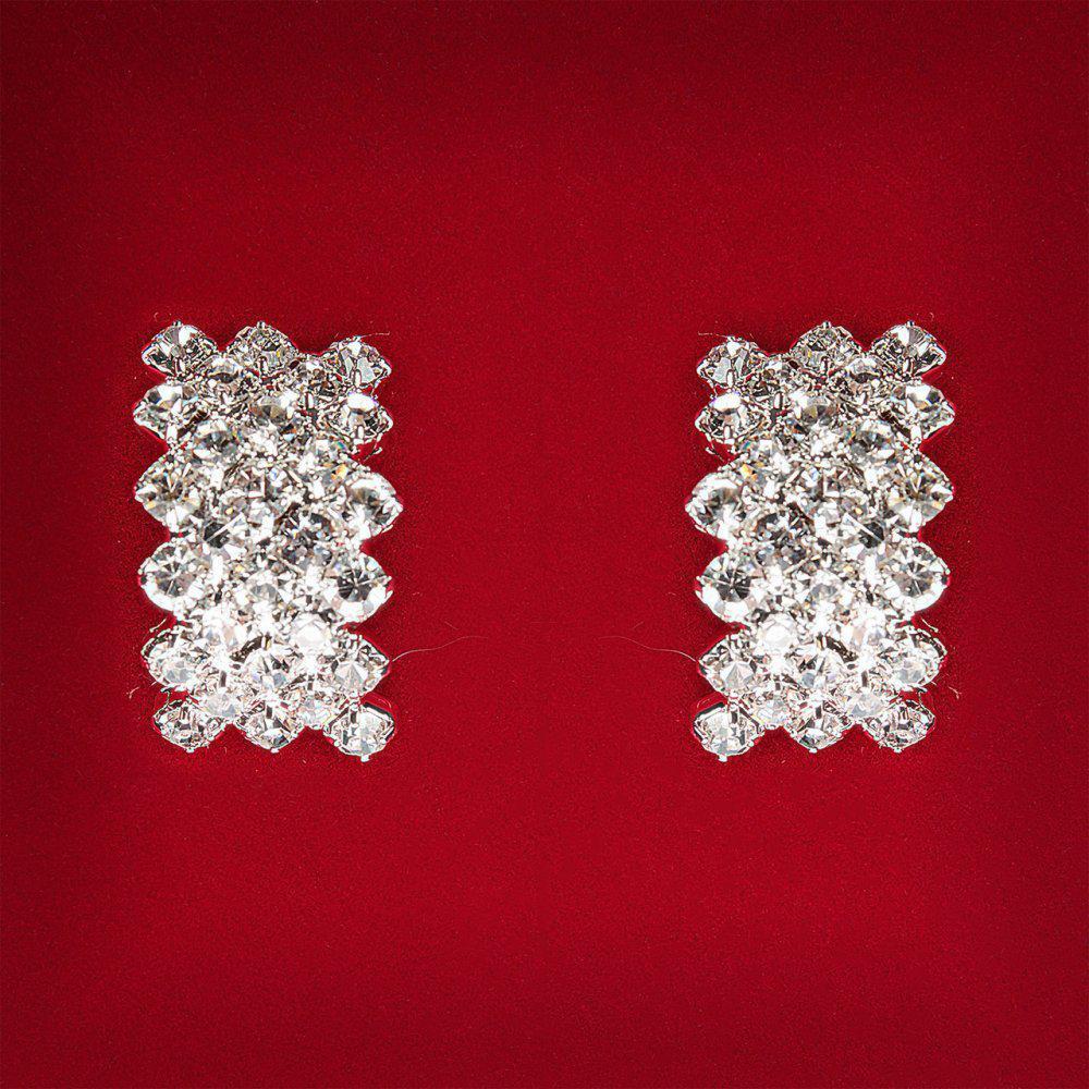 [19x12 мм] Серьги женские белые стразы светлый металл свадебные вечерние гвоздики (пусеты ) косичка средние