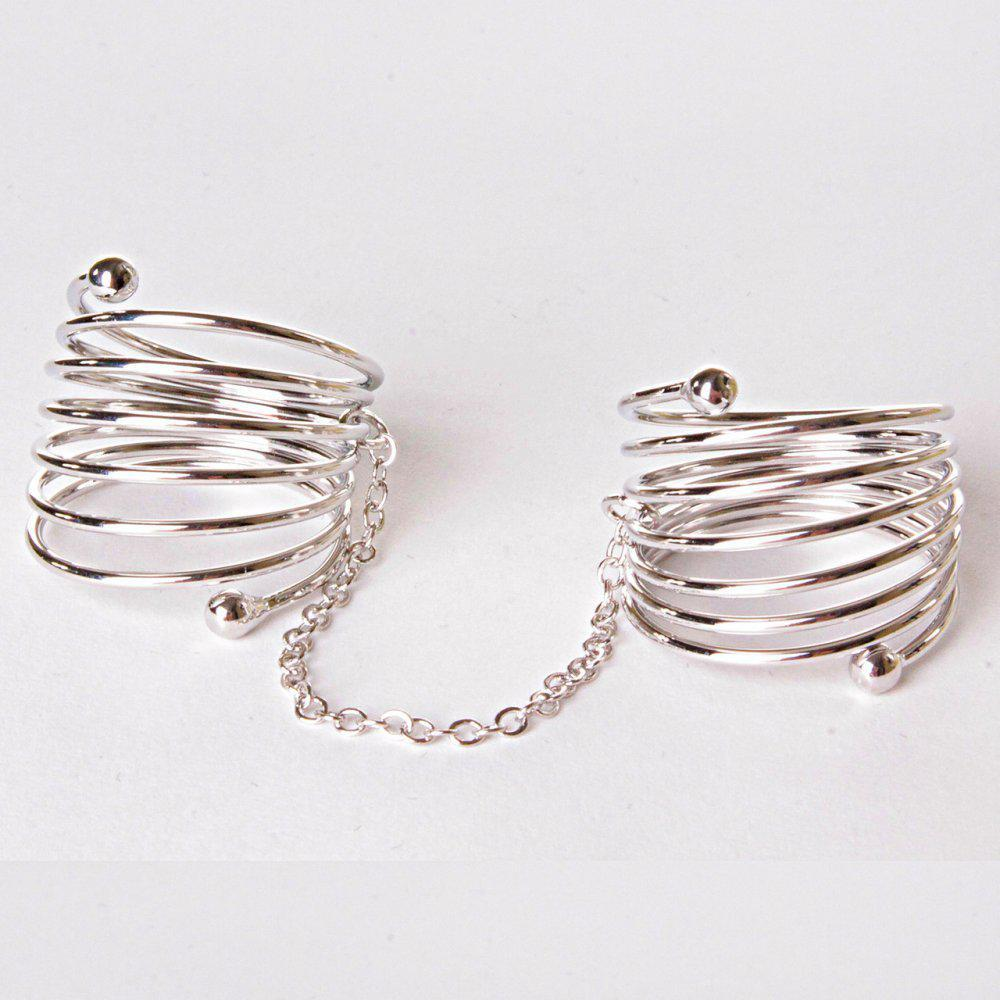 [15,16,17,18,19] Кольцо на два пальчика спираль сильвер
