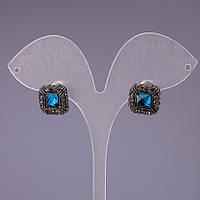 Серьги пусеты с голубыми кристаллами d-12мм