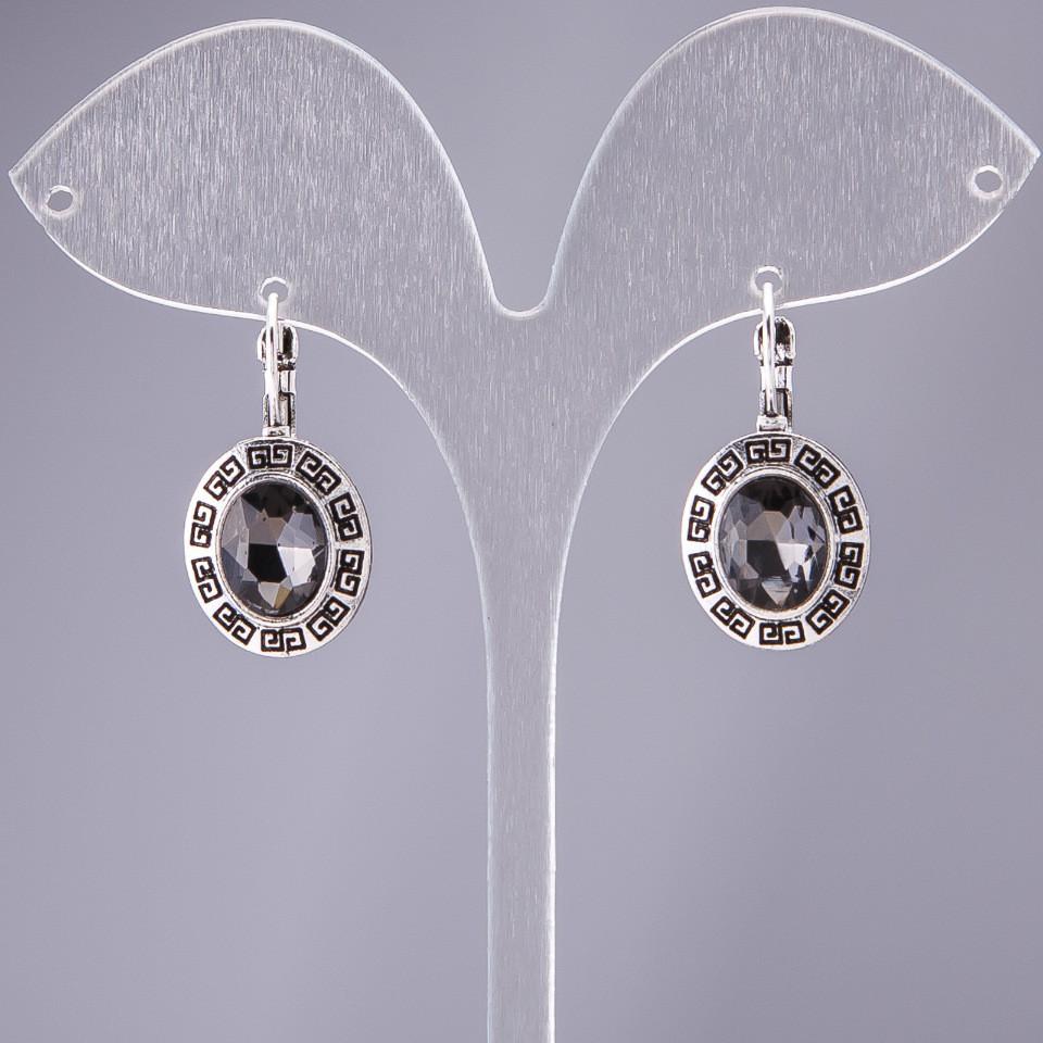 """Серьги с серыми кристаллами оправа """"греческая мини"""" d-15х17мм L-2,8см"""