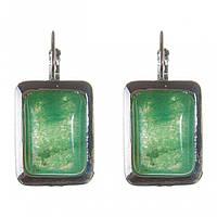 Серьги Нефрит гладкая оправа прямоугольный камень 2,3*1,8см L-3,5