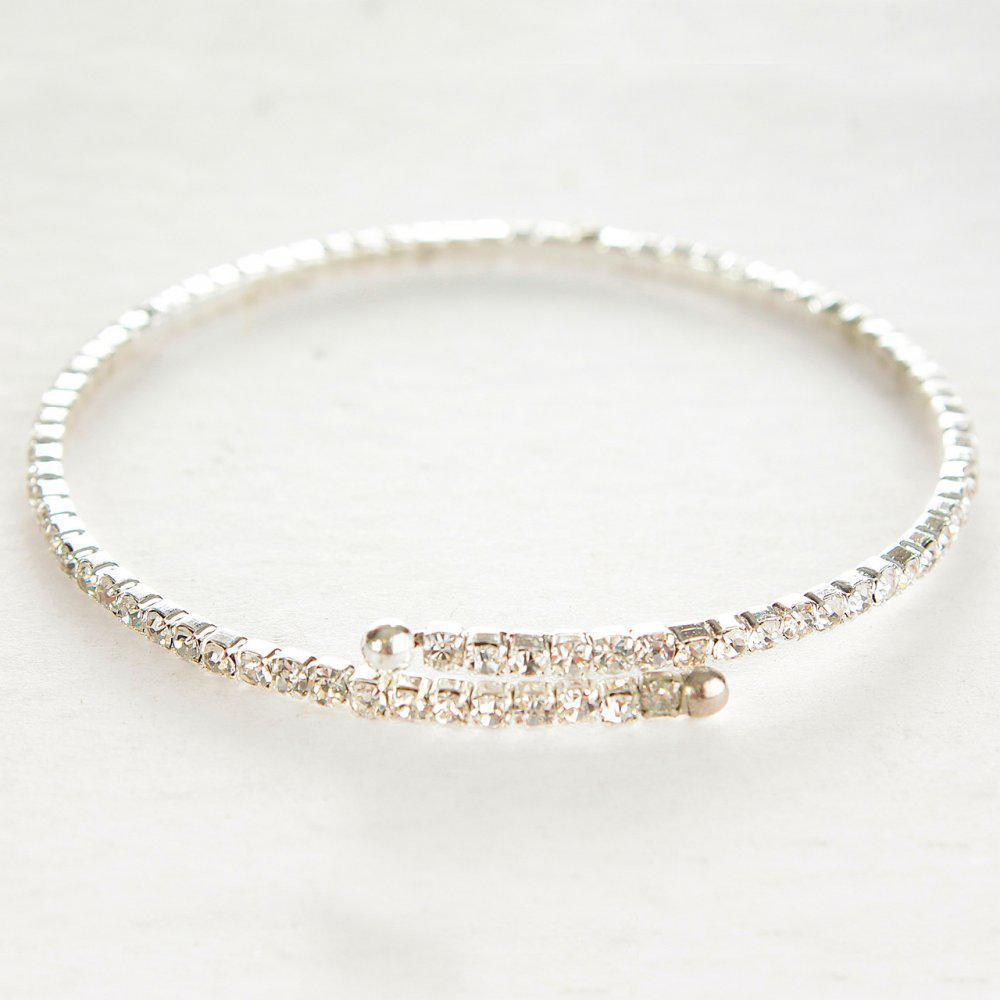 Тонкий браслет спиральный на один виток стразы белые мелкие обхват 18-22 см