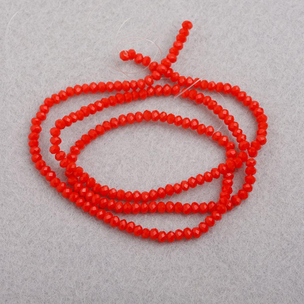 """Бусины """"рондель"""" хрустальные на нитке d-3мм стекло матовый красно ОранжевыйL-41см"""