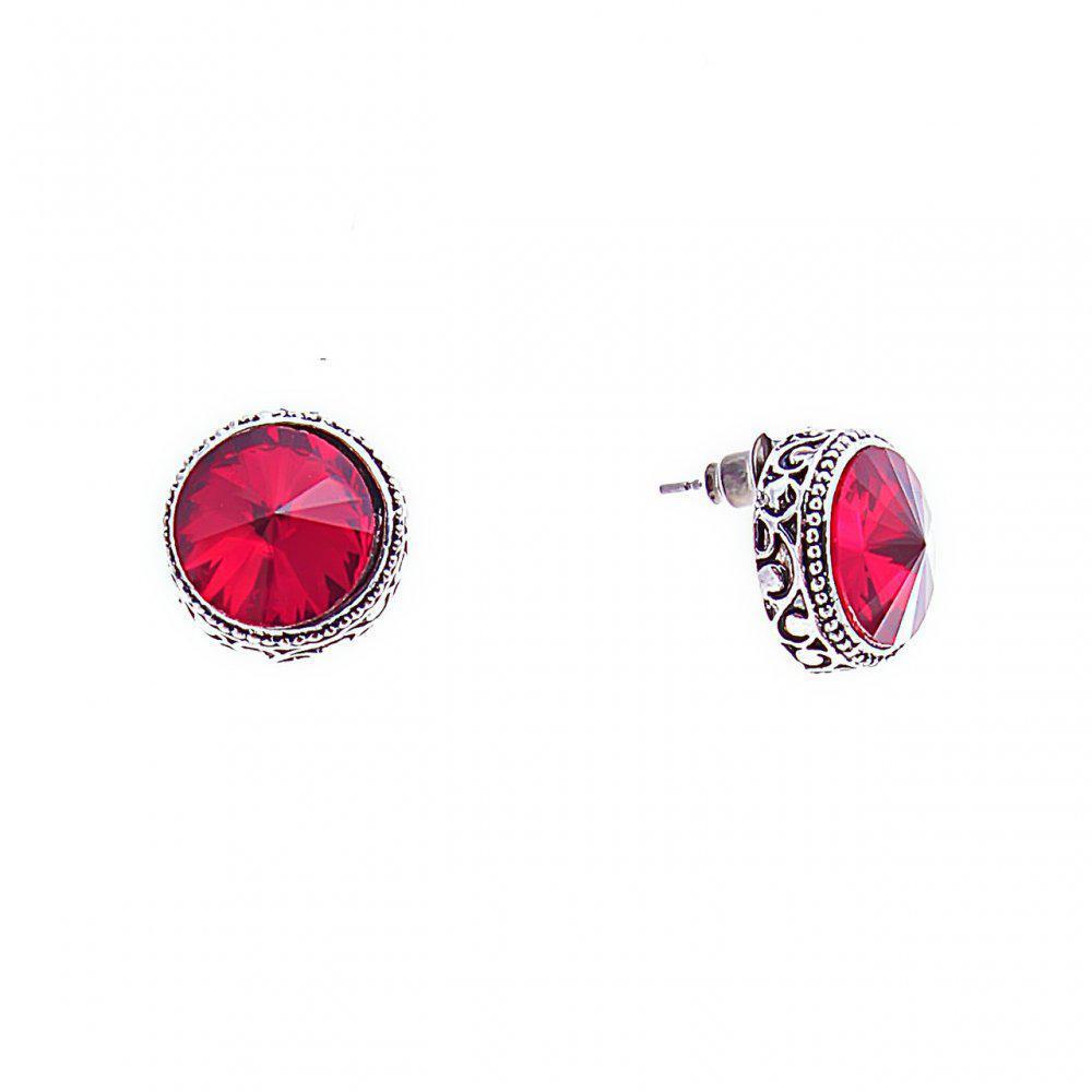 Серьги-пусеты с круглыми, красными кристаллами в оправе, 14*7мм