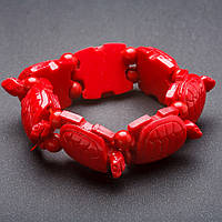 "Браслет на резинке Черепахи пластик цвет ""красный коралл"" ""звено"" 24х30мм"