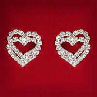 [20x20 мм] Серьги женские белые стразы светлый металл свадебные вечерние гвоздики (пусеты ) сердечки двойные средние