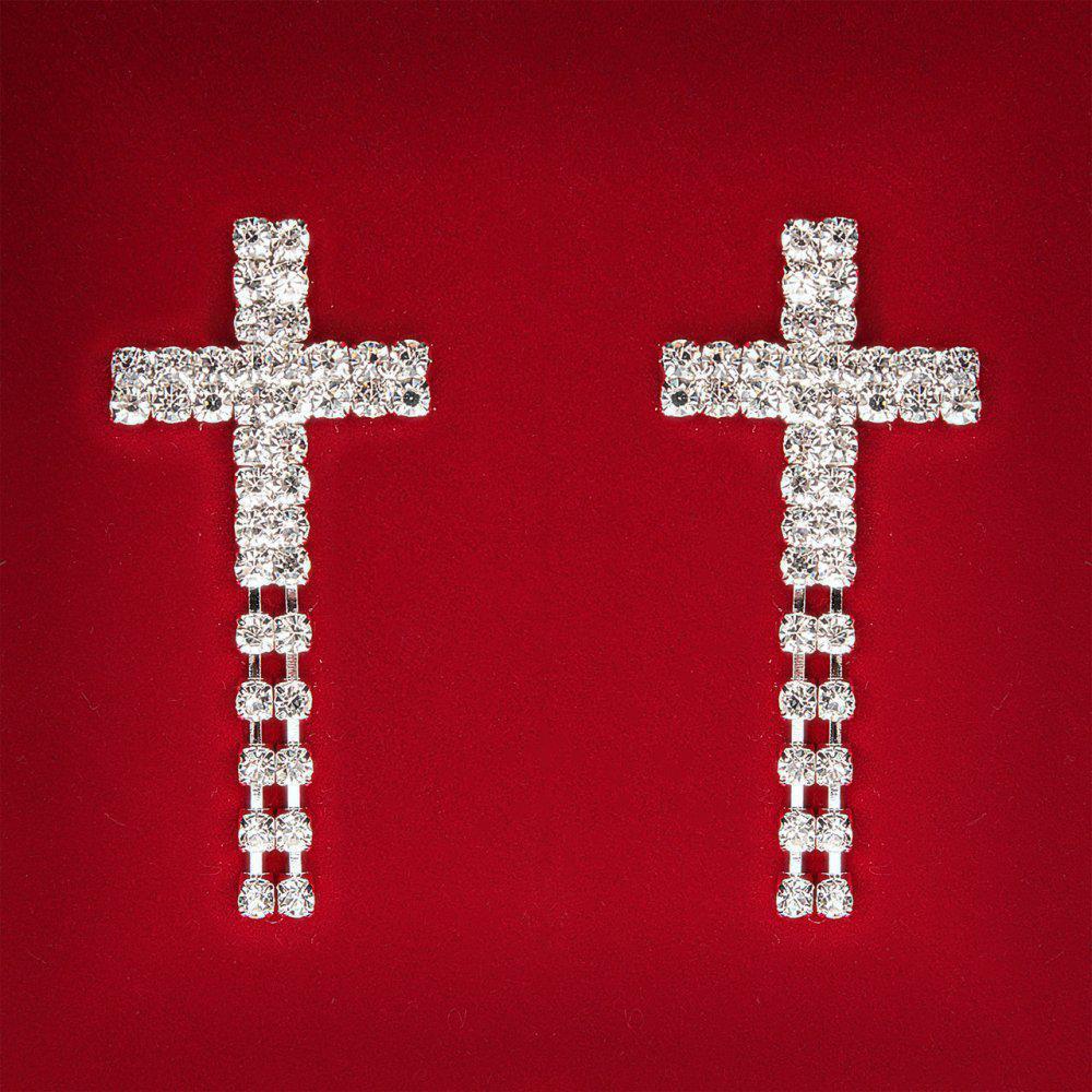 [55 мм] Серьги женские белые стразы светлый металл свадебные вечерние гвоздики (пусеты ) крестик с подвесками