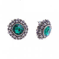 Серьги-пусеты с ромбическими зелеными кристаллами в ярусной оправе, стразы , 20мм