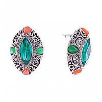 Серьги-пусеты с зелеными кристаллами- Маркиз, оправа в стразах, 26*19мм