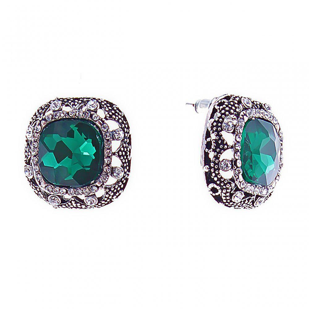 Серьги-пусеты с зелеными квадратными кристаллами в массивной оправе со стразами, 20мм