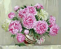Картина раскраска по номерам на холсте 40*50см Babylon VP573 Розовые пионы