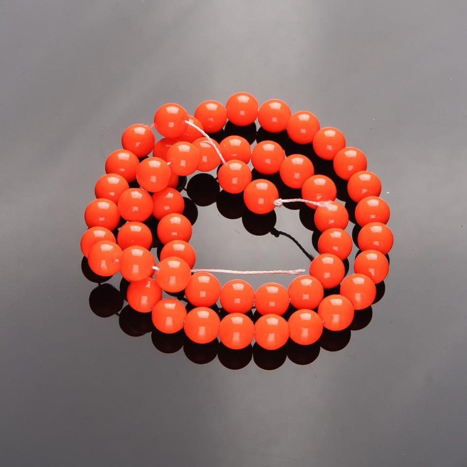 Бусины на нитке 8мм стекло в глазури кислотный оранж