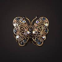 Брошь Бабочка золотистая ажурная стразы хамелеон и синие 3 см