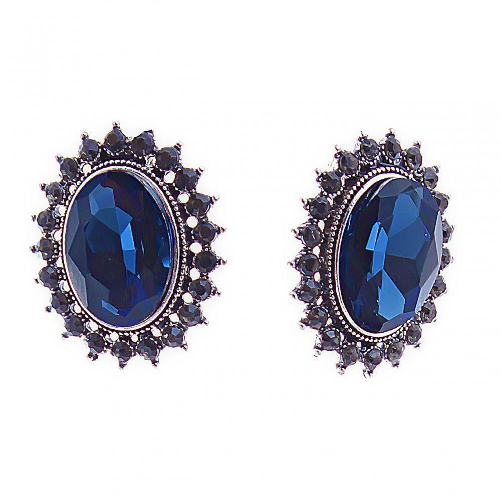 Серьги классика с синими овальными кристаллами в оправе со стразами, 27*23мм